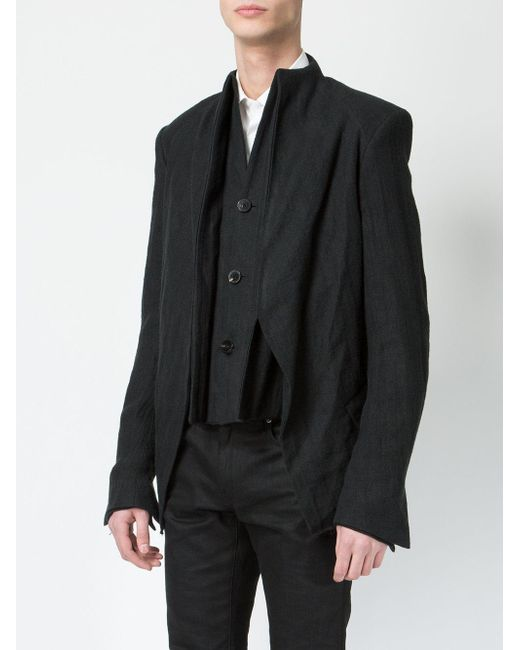 Cedric Jacquemyn High Neck Layered Blazer In Black For Men | Lyst
