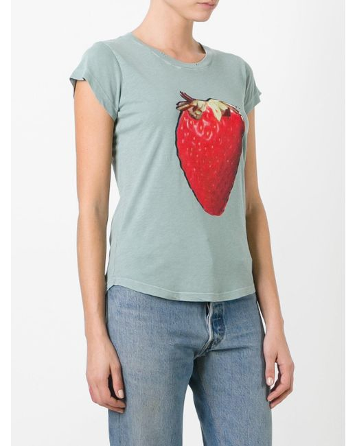 Zadig voltaire strawberry print t shirt in blue lyst for Vista print tee shirt