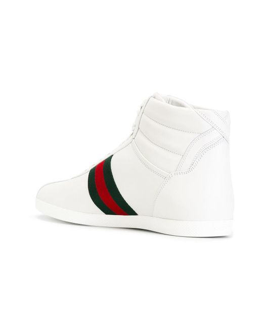 gucci web detail hi top sneakers in white for men lyst. Black Bedroom Furniture Sets. Home Design Ideas