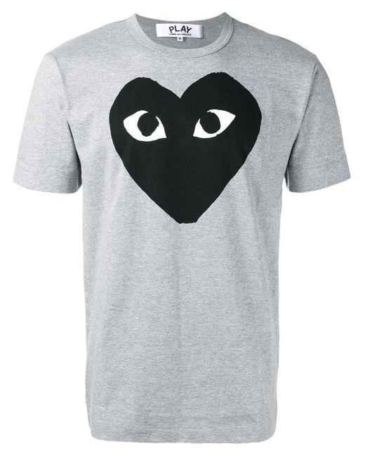 Play Comme des Garçons   Gray Heart Print T-shirt for Men   Lyst