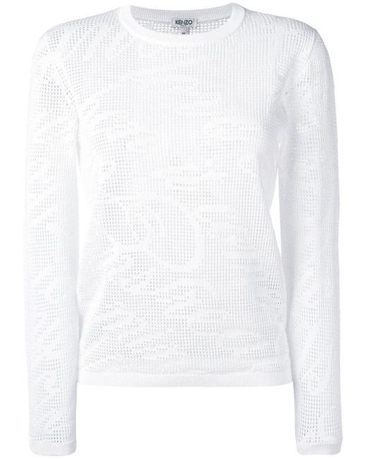 KENZO | White Lace Hole Jumper | Lyst