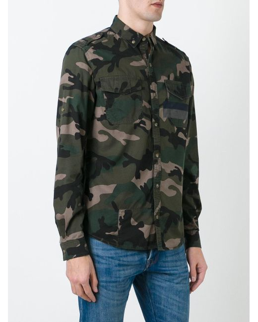 Valentino Camouflage Button Down Shirt In Green For Men Lyst