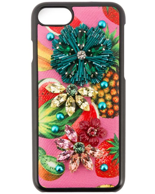Dolce & Gabbana | Black Tropical Fruit Embellished Iphone 6 Case | Lyst