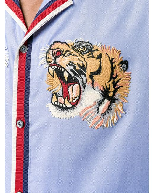 Gucci Tiger Embroidered Bowling Shirt In Blue For Men