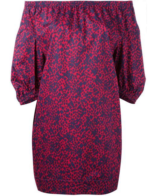 Sonia Rykiel | Blue - Patterned Off-shoulders Dress - Women - Cotton - 40 | Lyst