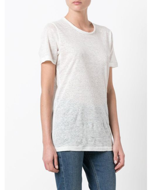 Isabel marant madjo t shirt in white lyst for Isabel marant t shirt sale