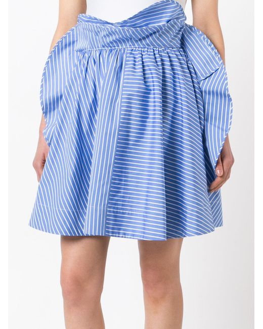 msgm striped skirt in blue lyst