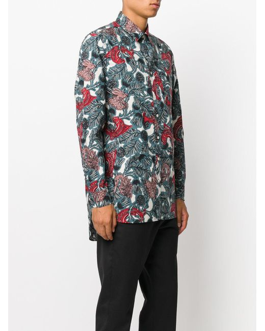 Burberry fish print shirt in green for men lyst for Fish print shirt