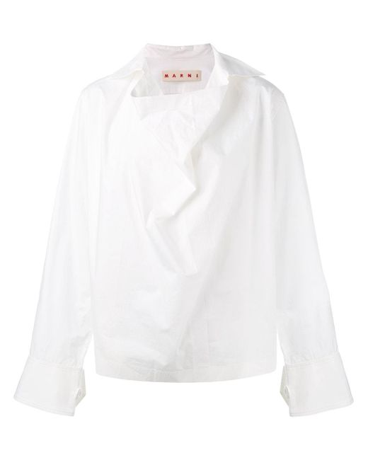 Marni | White Cowl Neck Blouse | Lyst