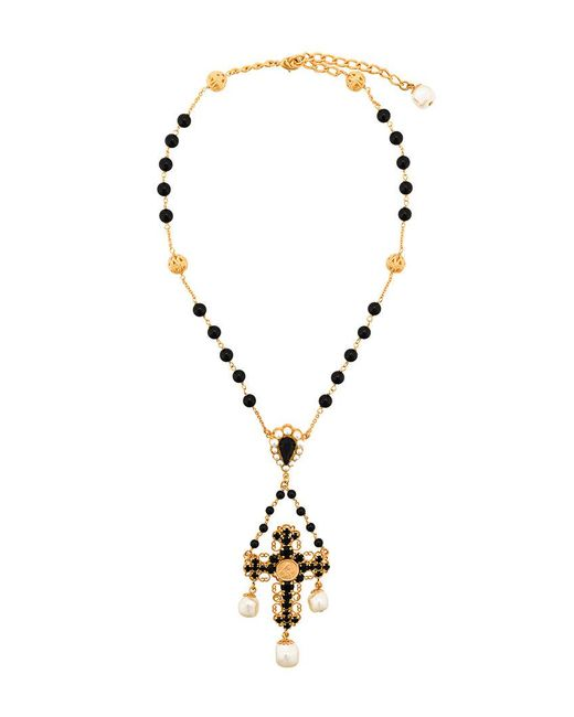 Dolce & Gabbana - Black Beaded Crucifix Necklace - Lyst