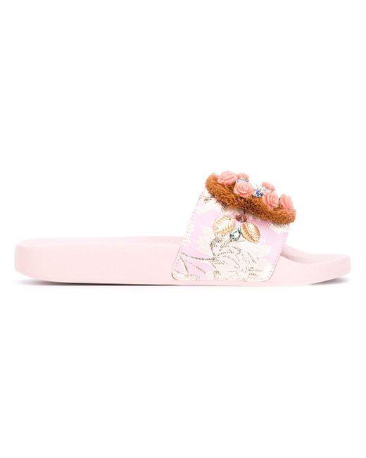 Dolce & Gabbana | Pink Raffia Embellished Slide Sandal | Lyst