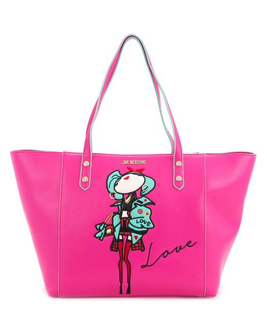 Love Moschino | Pink Doll Patch Shopping Bag | Lyst