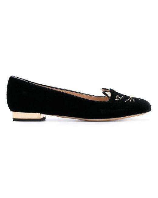 Charlotte Olympia | Black Kitty Embroidered Velvet Flats | Lyst