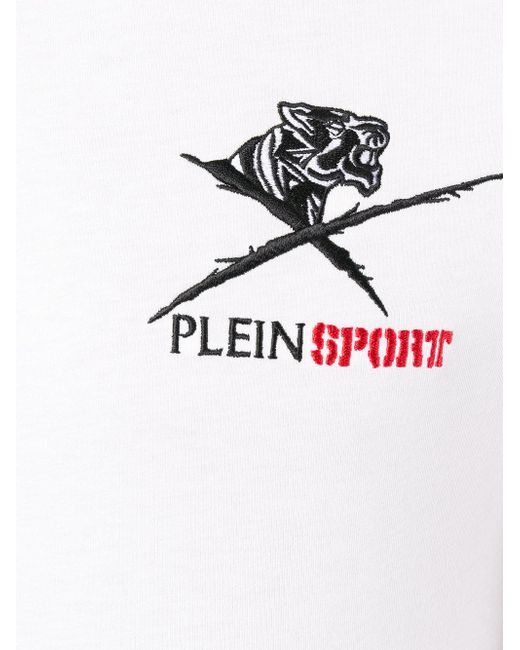 philipp plein logo print t shirt in white for men lyst. Black Bedroom Furniture Sets. Home Design Ideas
