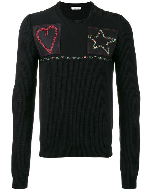 Valentino | Blue Patched Fisherman Knit Sweater for Men | Lyst
