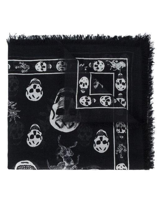 Alexander McQueen | Black Romantic Weeds & Skull Printed Scarf for Men | Lyst