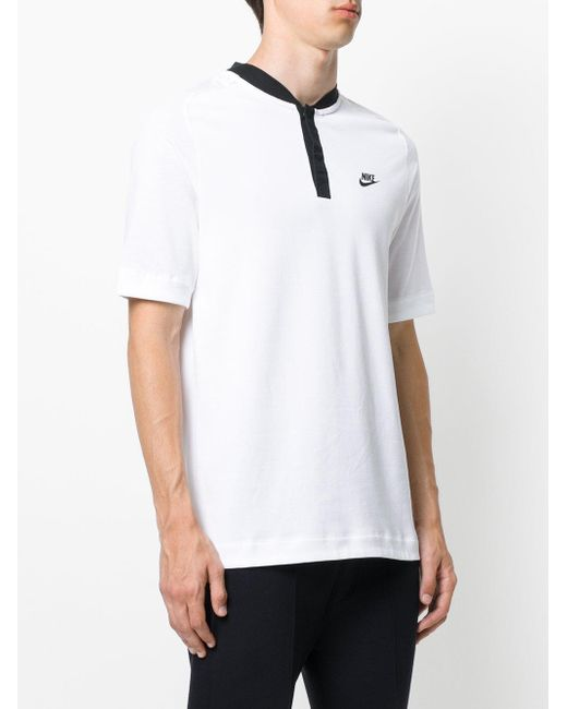nike sportswear bonded polo top in white for men lyst. Black Bedroom Furniture Sets. Home Design Ideas