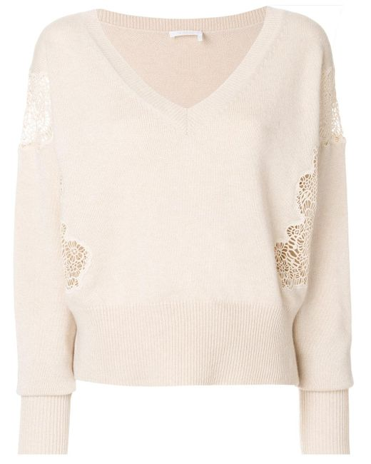 Chloé   Natural Lace Detail V Neck Sweater   Lyst