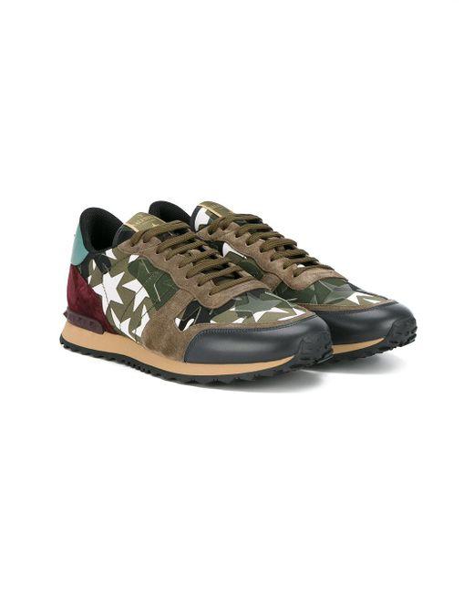 63cc442169ba4 ... Valentino | Green - Garavani Rockrunner Sneakers - Men -  Cotton/leather/suede/ ...