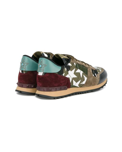 f962b550b6427 ... Valentino | Green - Garavani Rockrunner Sneakers - Men - Cotton/leather/suede/  ...