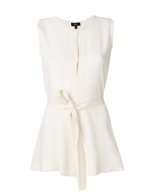 Theory | White Waist-tied Blouse | Lyst
