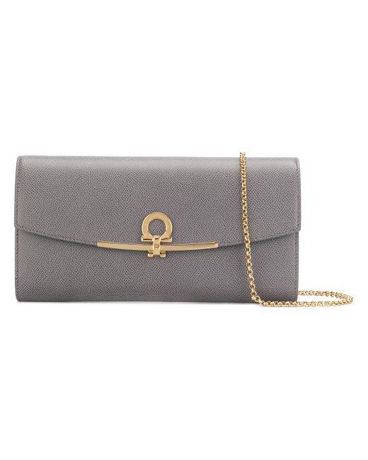 Ferragamo | Gray Gancio Clasp Clutch Bag | Lyst
