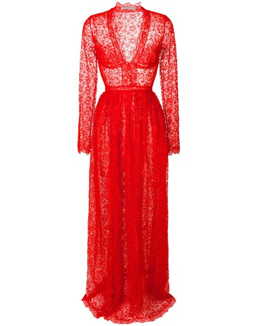 Ermanno Scervino   Red V-neck Lace Gown   Lyst