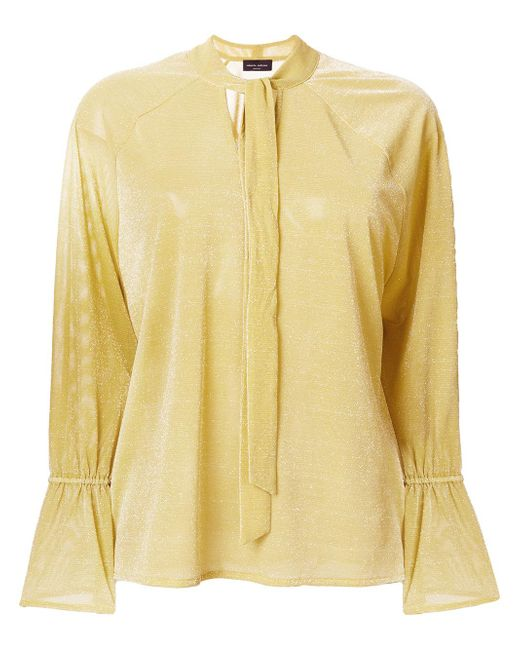 Roberto Collina | Yellow Neck-tied Shift Blouse | Lyst