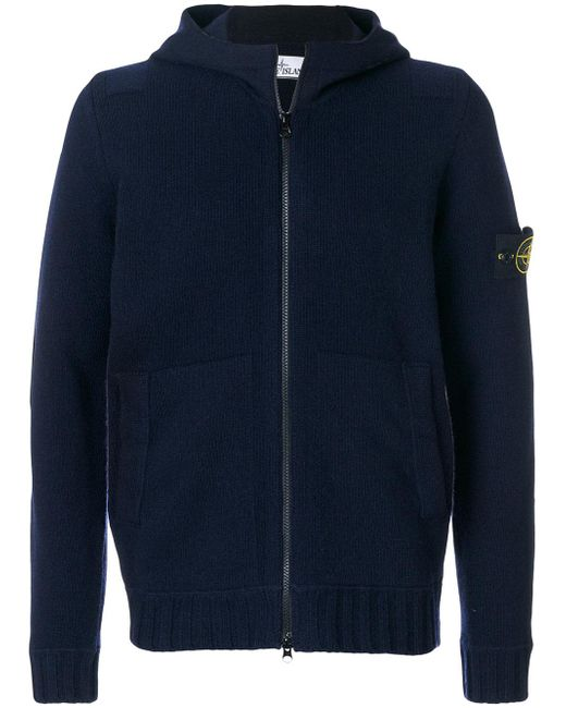 Stone Island | Blue Maglia Zipped-up Hoodie for Men | Lyst