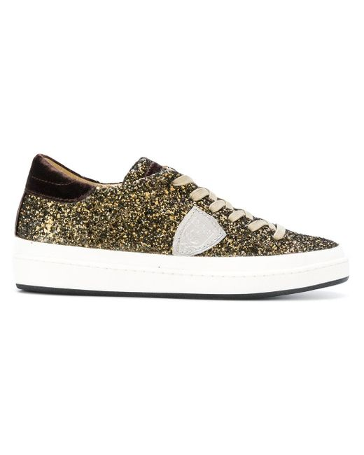 Philippe Model | Multicolor Glitter Lace-up Sneakers | Lyst
