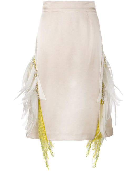 Prada | Natural Feather Embellished Beaded Skirt | Lyst