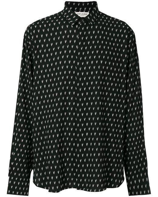 Saint Laurent - Black Ikat Print Shirt for Men - Lyst