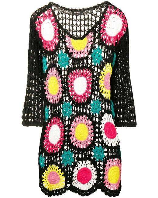 b64728fcadc8 Twin Set - Black Crochet Knit Dress - Lyst ...