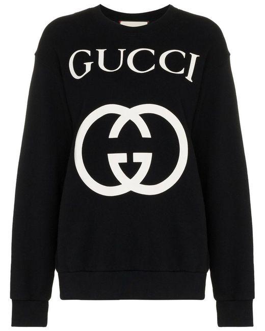 Lyst - Jersey de algodón con estampado del logo Gucci de color Negro 3970759d712