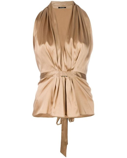 Styland - Metallic V-neck Ruched Top - Lyst