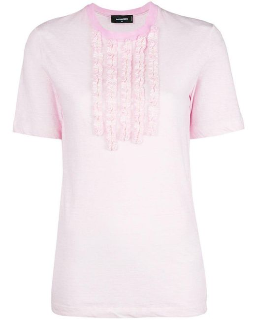 DSquared² - Pink Frill Embellished T-shirt - Lyst
