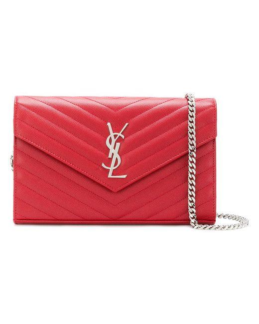 Saint Laurent - Red Monogram Chain Wallet - Lyst