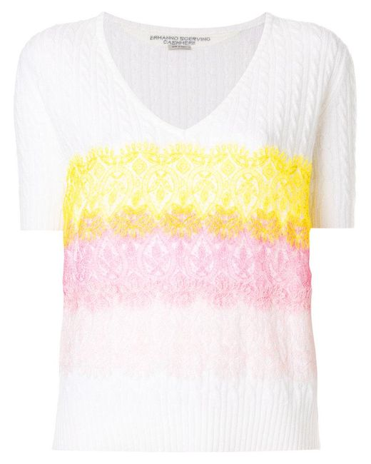 Ermanno Scervino - White Contrast Lace Trim Knitted Jumper - Lyst