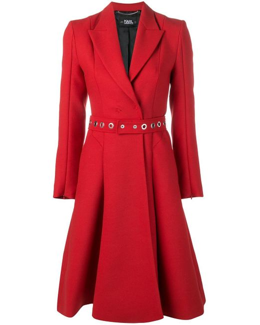 Karl Lagerfeld - Red Belted Double-breasted Coat - Lyst