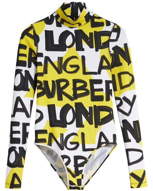 Burberry - Yellow Body con estampado de grafiti - Lyst