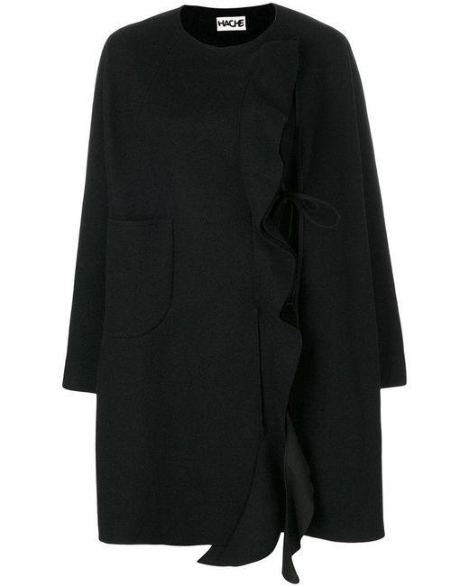 Hache | Black Ruffle Trim Coat | Lyst
