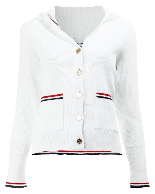 Thom Browne - White Hooded Buttoned Cardigan - Lyst