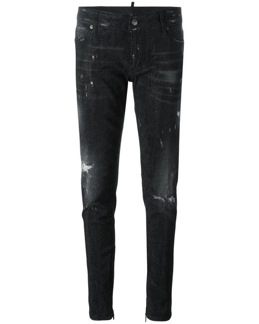 DSquared²   Black Skinny Microstudded Jeans   Lyst