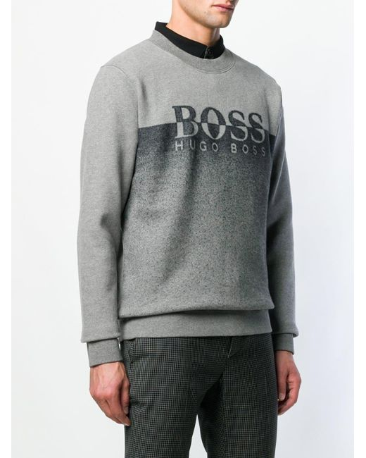 078566e29 ... BOSS - Gray Crew Neck Logo Jumper for Men - Lyst ...
