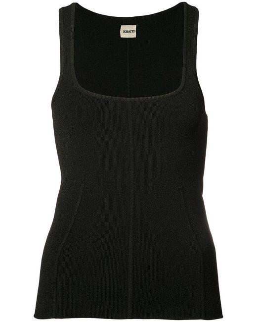 Khaite | Black Ribbed Vest Top | Lyst