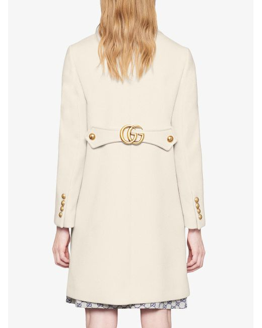 67876fd59 Gucci Wool Coat With Double G in White - Save 3% - Lyst
