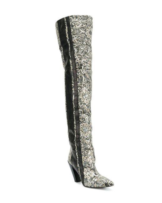 ... A.F.Vandevorst - Green Contrast Thigh-high Boots - Lyst ... 67a6286bff3