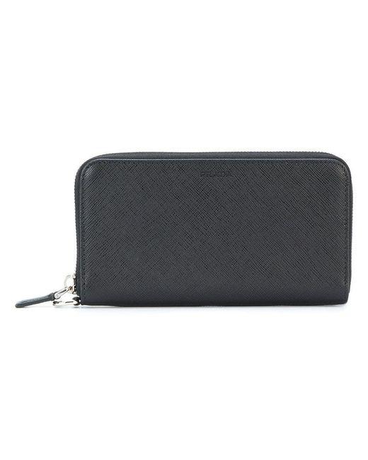Prada - Black Classic Zip Around Wallet - Lyst