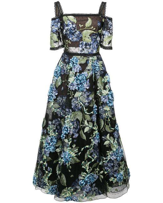 Marchesa notte - Black Floral Applique Dress - Lyst