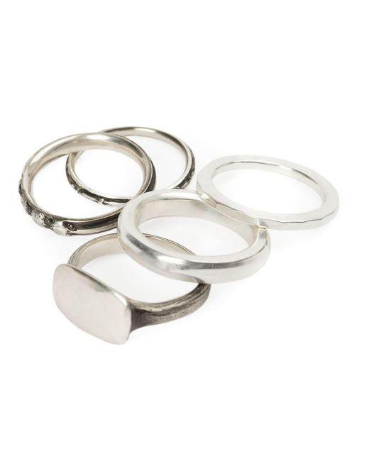 Werkstatt:münchen - Metallic Set Of 5 Rings - Lyst